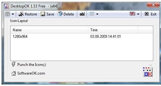 DesktopOK v4.99 32비트 (바탕화면 아이콘 위치 복구)