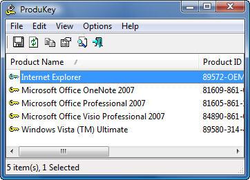 ProduKey v1.93 (MS 윈도우/오피스 제품키 뷰어)