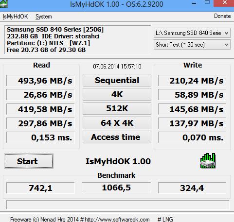 IsMyHdOK v1.29 64bit (간단한 SSD/하드 디스크 테스트)
