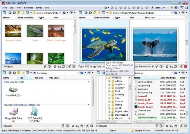 Q-Dir v7.09 64비트 (윈도우 탐색기 강화)