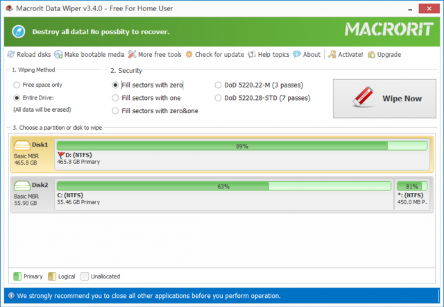 Macrorit Data Wiper (구: Disk Partition Wiper) v4.3.0 (HDD 데이터 완벽 파괴)