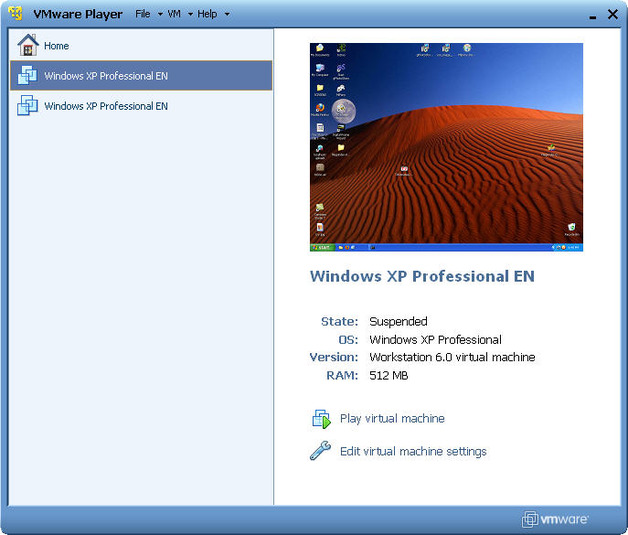 VMware Player v15.1.0 (VMware 가상 머신 실행)