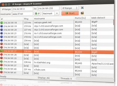 Angry IP Scanner v3.6.1 (지정한 IP 대역 정보조회)