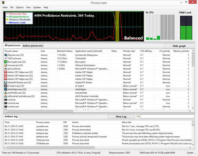 Process Lasso v9.7.0.2 32비트 (강력한 프로세스 정보/관리 유틸)
