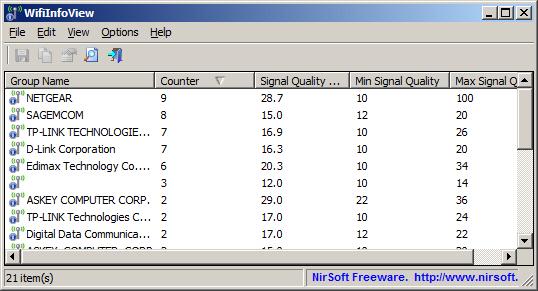 WifiInfoView v2.61 (무선 네트워크 WiFi 정보 표시)
